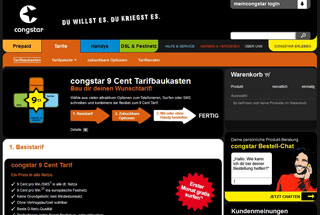 Congstar Datentarife Website