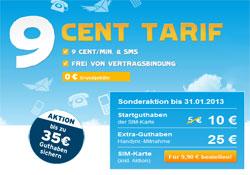 Angebot blau.de 9 Cent Tarif