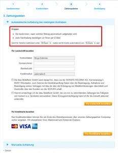 Blau Prepaid Automatische Aufladung