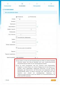 Blau Prepaid Kundendaten
