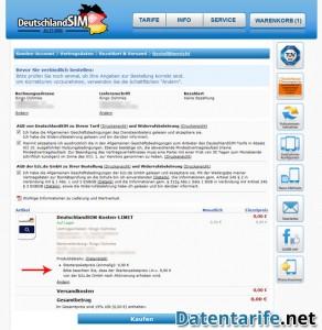 DeutschlandSIM Kosten-LIMIT Bestellübersicht