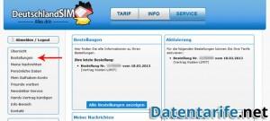DeutschlandSIM Servicebereich Startseite