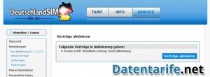 DeutschlandSIM Servicebereich Tarif aktivieren