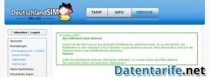 DeutschlandSIM Servicebereich Tarif aktiviert