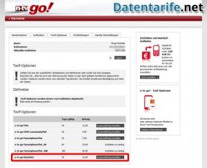 n-tv go! Kundenbereich Tarif-Optionen